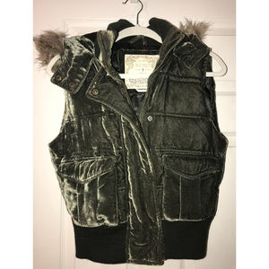 Old Navy Jackets & Coats - Green Velvet Puffer Vest with Fur Trim Hood